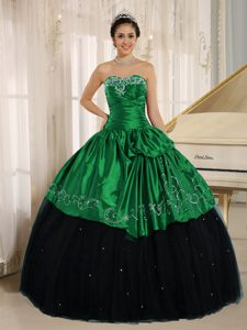 2013 Beaded and Embroidery Taffeta Quinceanera Dress in Black and Green