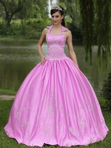 New Arrival Rose Pink Square Appliqued Quinceanera Dress Made in Satin