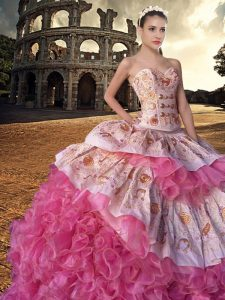Exceptional Sweetheart Sleeveless Organza Sweet 16 Dress Embroidery and Ruffles Court Train Lace Up