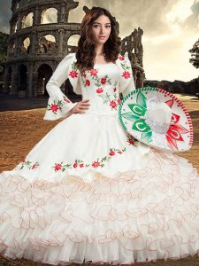 Sleeveless Organza and Taffeta Floor Length Lace Up Quinceanera Dresses in White with Embroidery and Ruffles
