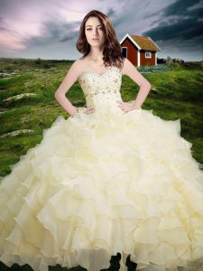 Light Yellow Ball Gowns Beading and Ruffled Layers Quinceanera Gown Lace Up Organza Sleeveless Floor Length