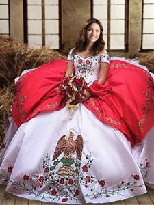 Off the Shoulder White And Red Sleeveless Embroidery and Ruffled Layers Sweet 16 Dress