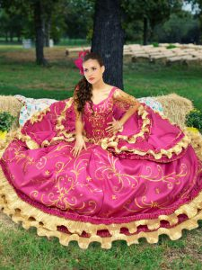 Off The Shoulder Sleeveless Lace Up Sweet 16 Quinceanera Dress Fuchsia Taffeta