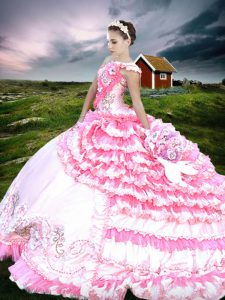 Chic Pink And White Quinceanera Gowns Military Ball and Sweet 16 and Quinceanera with Beading and Embroidery and Ruffled Layers One Shoulder Sleeveless Lace Up