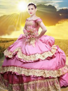 Great Off the Shoulder Sleeveless Floor Length Lace and Appliques and Pick Ups Lace Up Sweet 16 Quinceanera Dress with Rose Pink