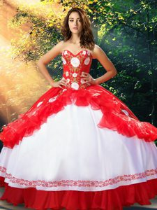 White And Red Sleeveless Floor Length Embroidery and Ruffles Lace Up 15 Quinceanera Dress