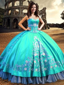Sweetheart Sleeveless Taffeta Sweet 16 Quinceanera Dress Embroidery Lace Up