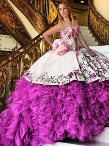 Unique Pink And White Quince Ball Gowns Military Ball and Sweet 16 and Quinceanera with Appliques and Embroidery Sweetheart Sleeveless Lace Up