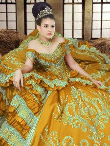 Best Off The Shoulder Sleeveless Sweet 16 Dress Floor Length Embroidery Gold Satin