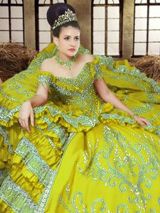 Off the Shoulder Floor Length Light Yellow Quinceanera Gown Satin Sleeveless Embroidery