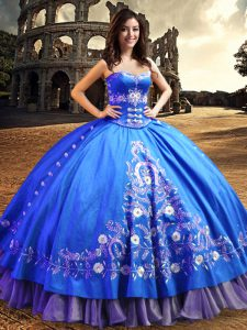 Dynamic One Shoulder Sleeveless Quinceanera Gown Floor Length Lace and Embroidery Royal Blue Satin