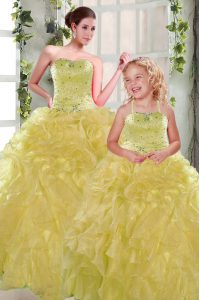 Lovely Floor Length Yellow 15th Birthday Dress Organza Sleeveless Beading and Ruffles