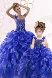 Royal Blue One Shoulder Neckline Beading and Ruffles Ball Gown Prom Dress Sleeveless Lace Up