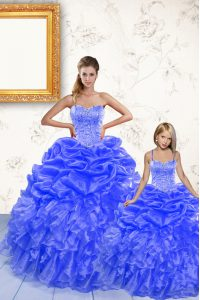 Sophisticated Pick Ups Floor Length Ball Gowns Sleeveless Royal Blue Sweet 16 Quinceanera Dress Lace Up