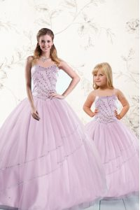Colorful Sleeveless Lace Up Floor Length Beading Quince Ball Gowns
