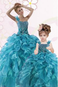 One Shoulder Sleeveless Organza Floor Length Lace Up Sweet 16 Dresses in Teal with Beading and Ruffles