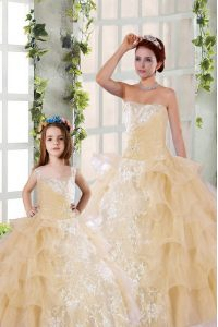 Flare Ruffled Ball Gowns Ball Gown Prom Dress Champagne Strapless Organza Sleeveless Floor Length Lace Up