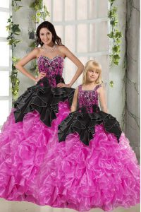 Beautiful Sweetheart Sleeveless Quinceanera Gown Floor Length Beading and Ruffles Pink And Black Organza