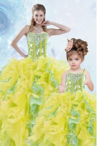 Superior Multi-color Sleeveless Beading and Ruffles and Sequins Floor Length 15th Birthday Dress