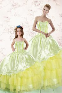 Hot Sale Floor Length Light Yellow Sweet 16 Dresses Organza Sleeveless Embroidery and Ruffled Layers