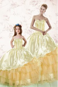 Dramatic Gold Sweetheart Neckline Embroidery and Ruffled Layers 15th Birthday Dress Sleeveless Lace Up