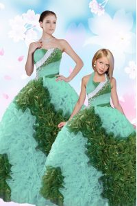 Low Price Floor Length Lace Up Quinceanera Gown Turquoise for Military Ball and Sweet 16 and Quinceanera with Beading and Sequins