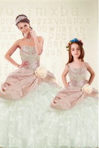 Custom Designed Pink And White Lace Up Sweet 16 Quinceanera Dress Beading and Ruffled Layers and Hand Made Flower Sleeveless Floor Length