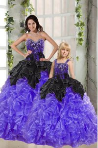Modest Black And Purple Organza Lace Up Quinceanera Dresses Sleeveless Floor Length Beading and Ruffles