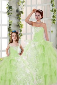 Comfortable Yellow Green Ball Gowns Beading and Ruffled Layers and Ruching Sweet 16 Dresses Lace Up Organza Sleeveless Floor Length