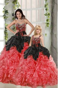 Unique Red And Black Sleeveless Floor Length Beading and Ruffles Lace Up Sweet 16 Quinceanera Dress