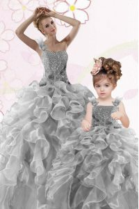 Gorgeous Grey Organza Lace Up One Shoulder Sleeveless Floor Length 15th Birthday Dress Beading and Ruffles
