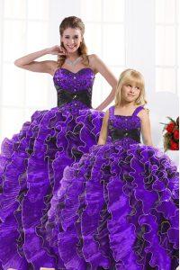 Floor Length Black And Purple Sweet 16 Dress Sweetheart Sleeveless Lace Up