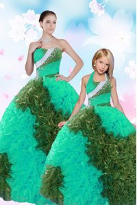 Chic Multi-color Taffeta Lace Up Sweet 16 Dresses Sleeveless Floor Length Sequins and Pick Ups