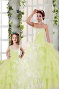 Light Yellow Lace Up Quinceanera Dresses Beading and Ruffled Layers and Ruching Sleeveless Floor Length