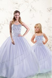 High End Purple Ball Gowns Beading 15 Quinceanera Dress Lace Up Tulle Sleeveless Floor Length