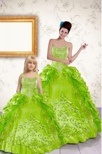 Yellow Green Ball Gowns Taffeta Halter Top Sleeveless Beading and Embroidery and Pick Ups Floor Length Lace Up Quinceanera Gown