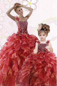 Sweet Coral Red Organza Lace Up One Shoulder Sleeveless Floor Length Quinceanera Dress Beading and Ruffles
