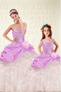 Custom Designed Ruffled Floor Length Ball Gowns Sleeveless Lilac Quinceanera Gowns Lace Up