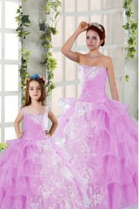 Lilac Ball Gowns Strapless Sleeveless Organza Floor Length Lace Up Beading and Ruching Quinceanera Gowns