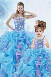 Multi-color Ball Gowns Organza Sweetheart Sleeveless Beading and Ruffles and Sequins Floor Length Lace Up Sweet 16 Dresses