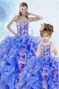 Ideal Sequins Ball Gowns Sweet 16 Quinceanera Dress Multi-color Sweetheart Organza Sleeveless Floor Length Lace Up