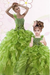 Low Price One Shoulder Floor Length Ball Gowns Sleeveless Green Vestidos de Quinceanera Lace Up