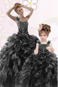 Attractive One Shoulder Sleeveless Organza Quinceanera Gown Beading and Ruffles Lace Up
