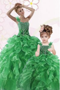 Green Lace Up One Shoulder Beading and Ruffles Sweet 16 Dresses Organza Sleeveless
