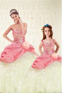 Charming Pink Organza and Taffeta Lace Up Sweet 16 Dress Sleeveless Floor Length Beading and Ruffled Layers and Hand Made Flower
