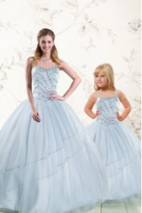 Superior Baby Blue Ball Gowns Sweetheart Sleeveless Tulle Floor Length Lace Up Beading Sweet 16 Dresses