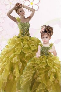 Fine Olive Green 15 Quinceanera Dress Military Ball and Sweet 16 and Quinceanera with Beading and Ruffles Sweetheart Sleeveless Lace Up
