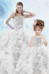 Sleeveless Organza Floor Length Lace Up Vestidos de Quinceanera in Silver with Beading and Ruffles and Sequins