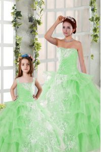 Captivating Sleeveless Organza Floor Length Lace Up Quinceanera Dress in with Beading and Ruffled Layers and Ruching