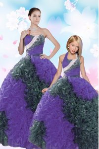 Hot Sale Floor Length Lace Up Vestidos de Quinceanera Multi-color for Military Ball and Sweet 16 and Quinceanera with Sequins and Pick Ups